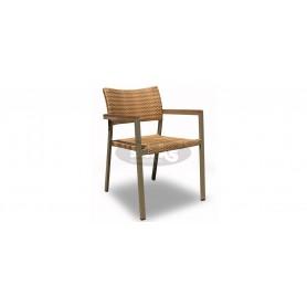 Mediterranea Style wicker stol z rokonasloni, barva: lešnik