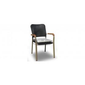 Oval stol z rokonasloni z belo blazino, barva: taupe/črna