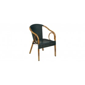Royal 5 armchair, color: dark bamboo/round black