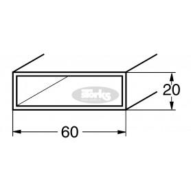 Aluminijasti SF profil 60 x 20 x 2 mm