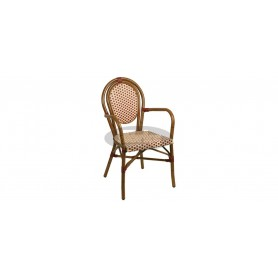Paris armchair, color: dark bamboo/beige/bordeaux