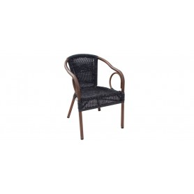Royal 5 round armchair, color: dark wood/coffee