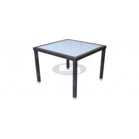 Cage miza 80 x 80 cm, barva: črna, rjavo usnje ali slonova kost