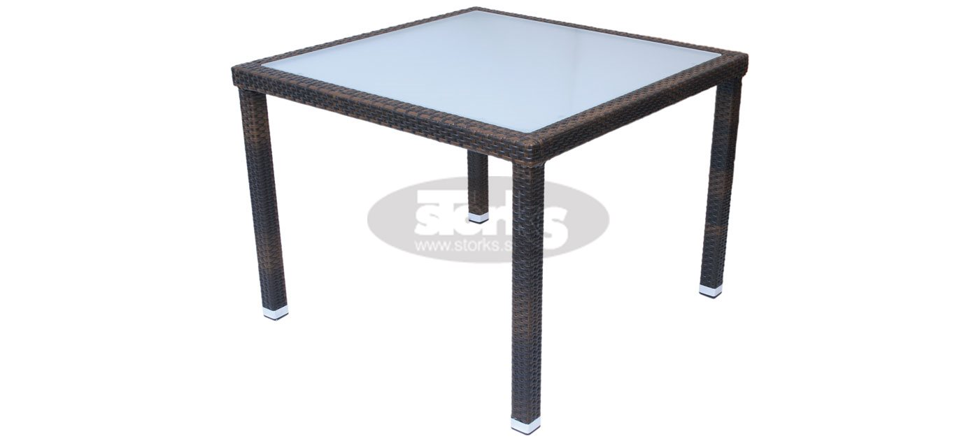 Cage table 80 x 80 cm color black leather look brown or for Table 80 x 80