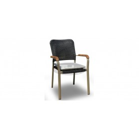 Oval armchair, color: taupe/black