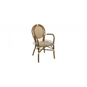 Paris armchair, color: dark bamboo/beige/brown