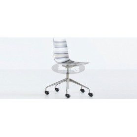 Cinquecolori 5R chair with cromed base with wheels