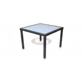 Cage table 80 x 80 cm, color: black, leather look brown or ivory