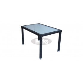 Cage table 80 x 120 cm, color: black, leather look brown or ivory