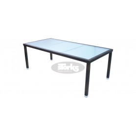 Cage table 100 x 205 cm, color: black, leather look brown or ivory